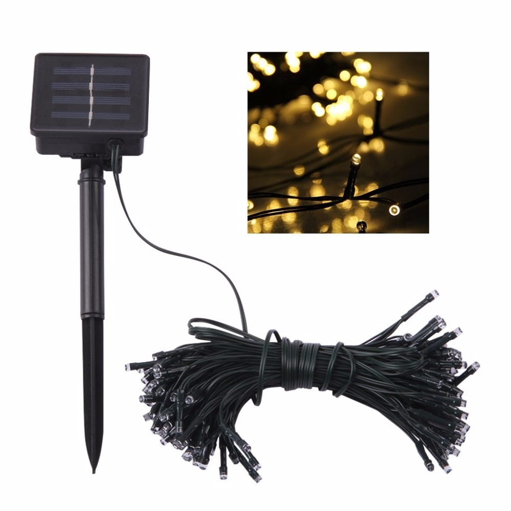 مصباح سلسلة يعمل بالطاقة الشمسية ، 100 LED 200 ، 8 أوضاع إضاءة ، مصباح خرافي خارجي ، مثالي للحديقة أو الكريسماس ، 10 م أو 22 م ، 2 قطعة.