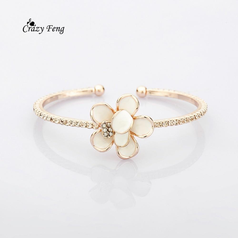 Pulseras Pulseira Feminina de Color dorado, pulseras, brazaletes de moda con esmalte de flor, brazalete, pulsera para mujer, envío gratis