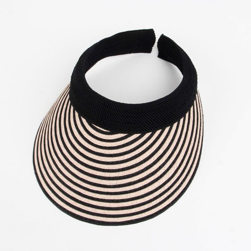 Hats For 2019 Stripe Summer Straw Sun Hat Women Empty Top Hats  Sun Visor Hat With Big Heads Wide Brim UV Protection Female Cap