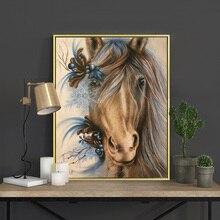 Meian Cross Stitch Embroidery Kits 14CT Horse Animal Cotton Thread Painting DIY Needlework DMC New Year Home Decor VS-0047