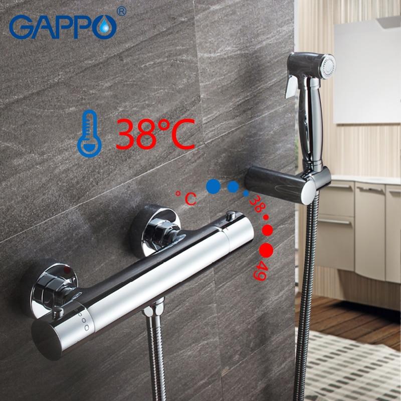 GAPPO-صنبور حمام ثرموستاتي مثبت على الحائط ، دش ، بيديه ، كروم ، بخاخ حمام إسلامي ، خلاط وغسالة