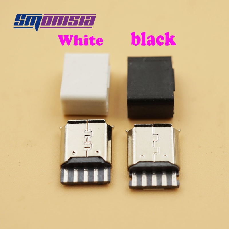 Smonisia-موصل أنثى Micro USB 1000 من النوع B ، محول من 5 دبابيس مع غلاف بلاستيكي ، 2.0 قطعة
