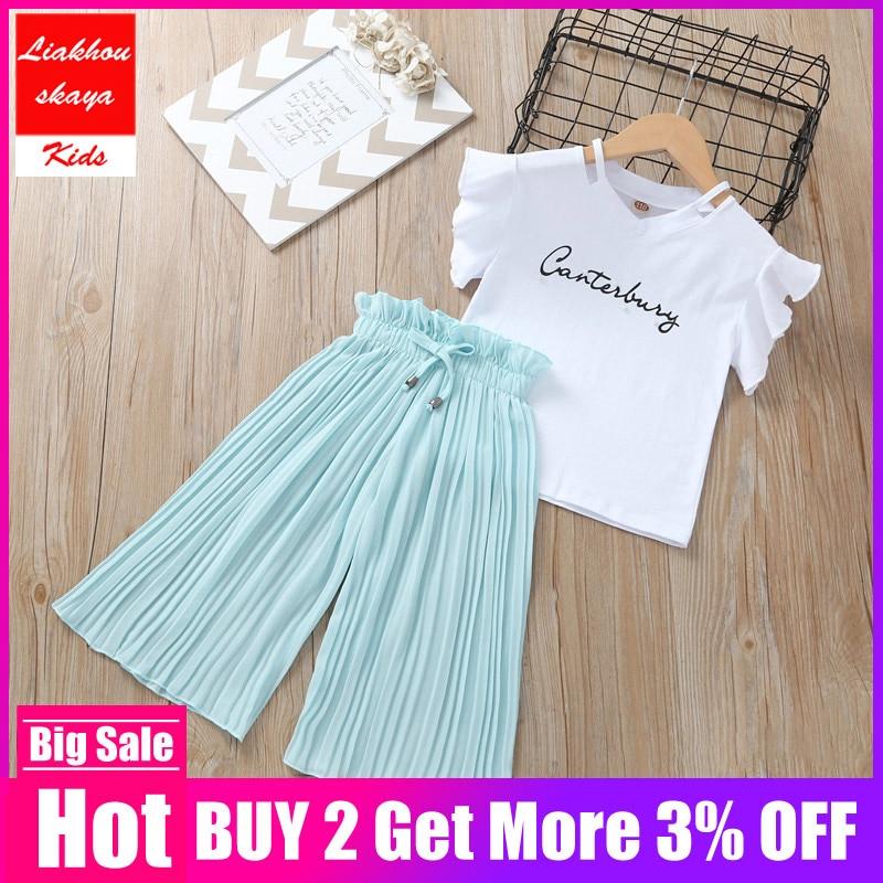 Fashion Girls Clothing Set 2019 Girls Tops Floral T-shirt+chiffon Pantsuit 2PCS Suits Children Summer Suit Girls Outfits Clothes