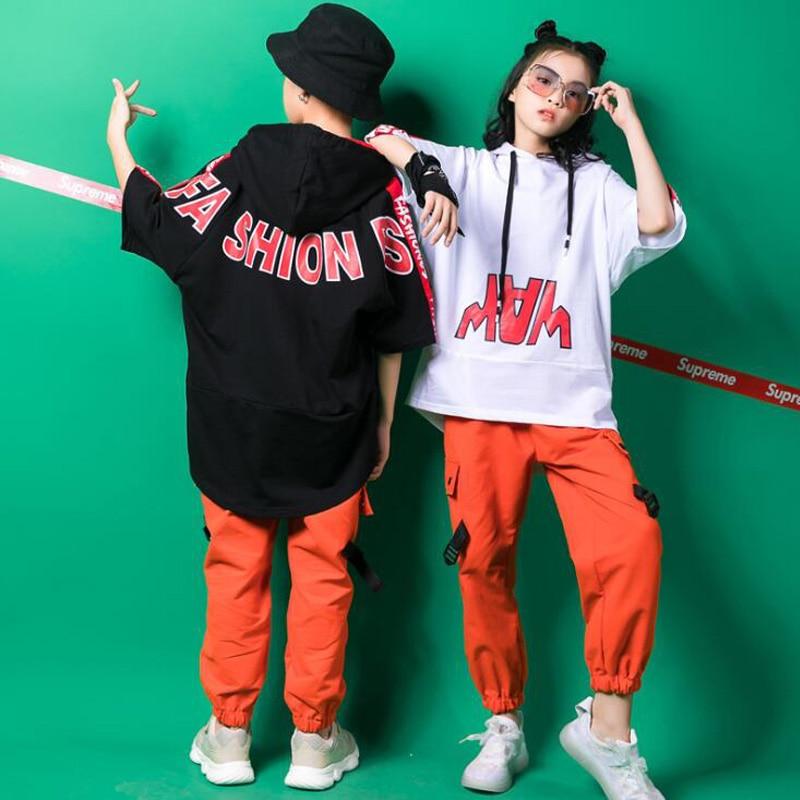 Girls Loose Hoodie Pants Jazz Dancing Costumes Clothing Kids Ballroom Hip Hop Outfits Stage wear Com