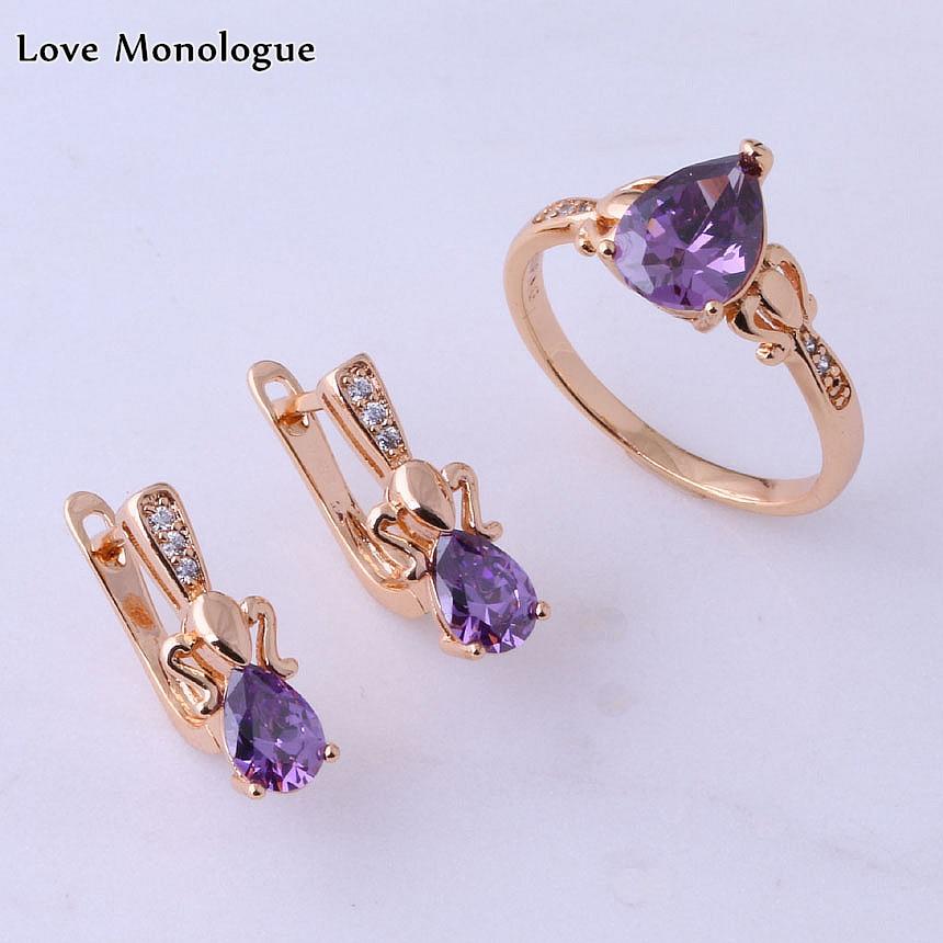 Любовный монолог, кольцо и серьги-пусеты золотого цвета в форме капель воды фиолетовый с кристаллами и кубическим цирконием, наборы свадебн...