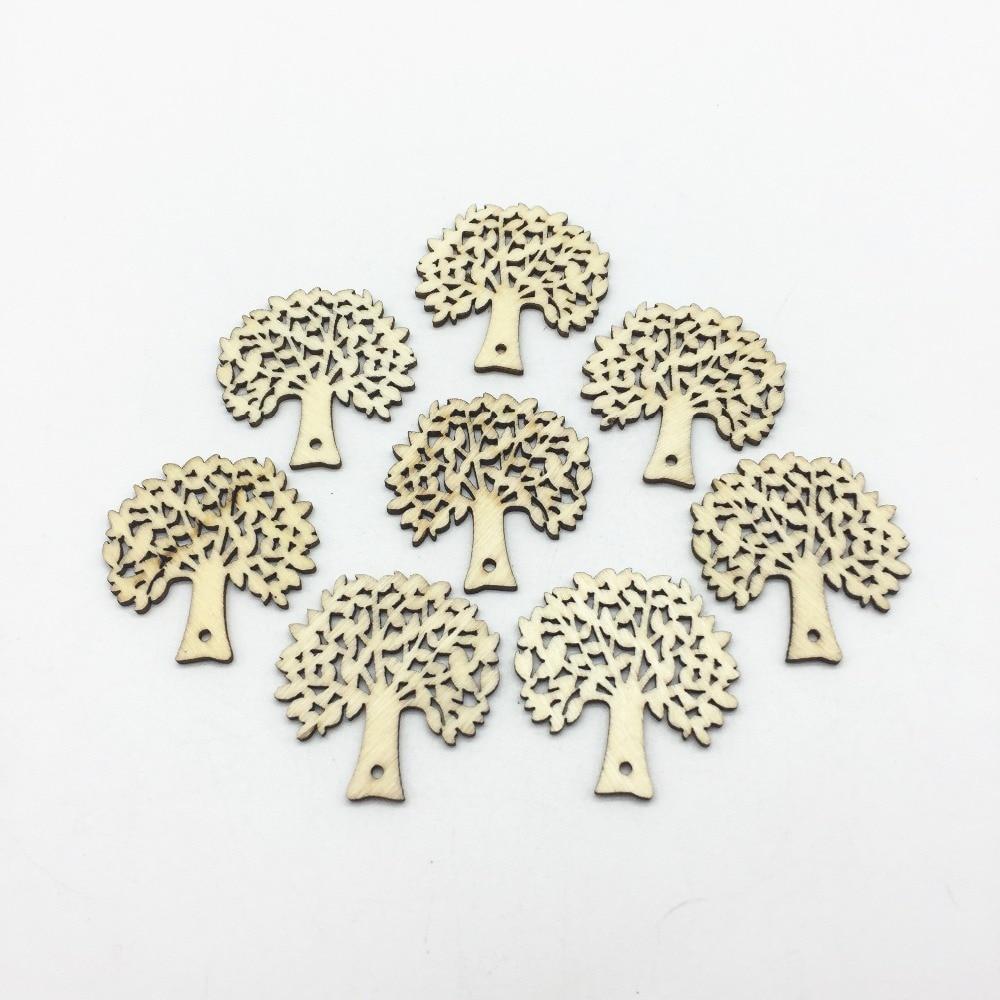 50 Uds., 32mm, etiquetas de madera con forma de árboles Banyan, decoraciones de mesa, confeti, recuerdos de boda, corte láser, silicatos, adornos, fabricación de tarjetas