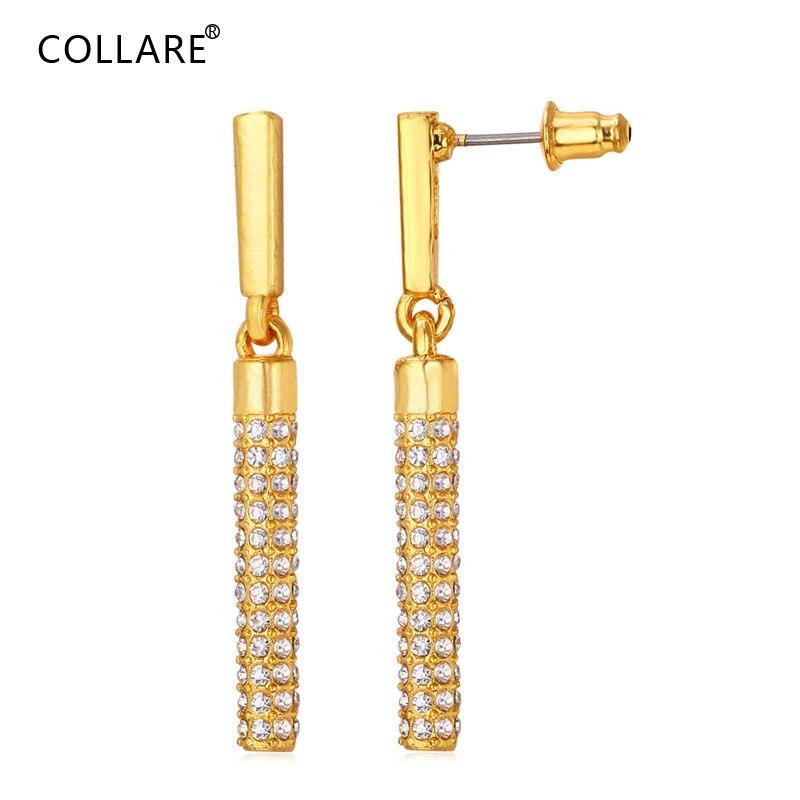 Collare pendientes largos de la gota del cilindro para las mujeres oro/plata Color colgante de cristal de imitación pendientes joyería de moda E007