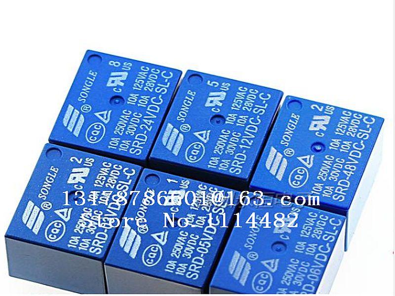 Envío Gratis 100 unids/lote relé de SRD-05VDC-SL-C SRD-12VDC-SL-C SRD-24VDC-SL-C SRD-48VDC-SL-C 5 V 12 V 24 V 48 V 48 V 10A 250VAC 5PIN T73