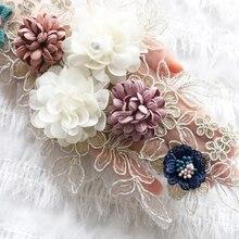 Bordure en tissu 3D en dentelle fleurie   Pour vêtements de soirée, col en dentelle brodé, accessoires de patchs cousus à la main, nouvelle collection