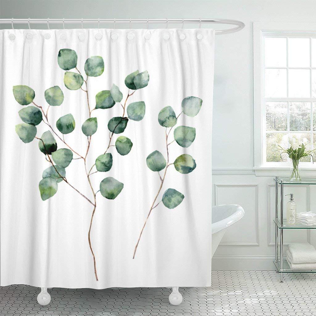 Cortinas de ducha impermeables, color acuarela de eucalipto de dólar plateado con hojas redondas y ramas, hechas a mano, blancas de flores Extra largas