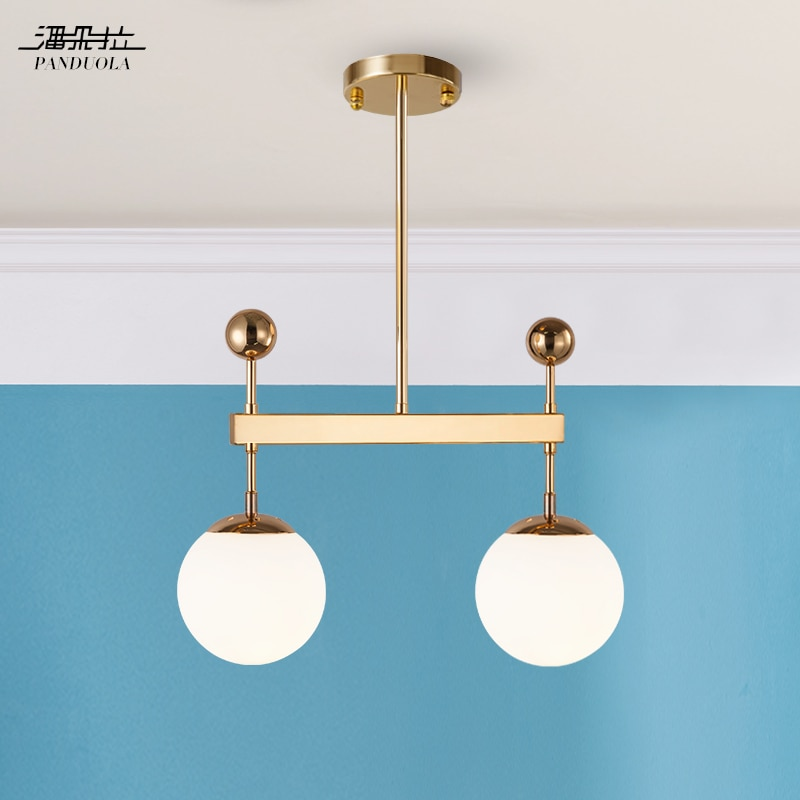 American Creative Glass Ball Pendant Lights Iron Hoop Hang Lamp for Bedroom Cafe Restaurant Bar Indoor Lighting Fixtures Decor
