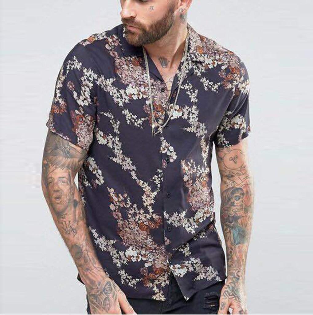 Men Summer Shirts Casual Flora Printing Shirts Streetwear Short-Sleeve Pullover Turn Down Collar Top Blouse Plus Size