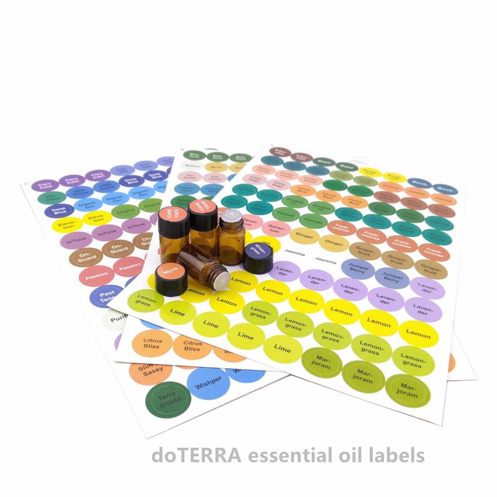 1set Pre-Printed Essential Oil Bottles Cap Lid Labels Round Circle Stickers Colorful For ALL doTERRA