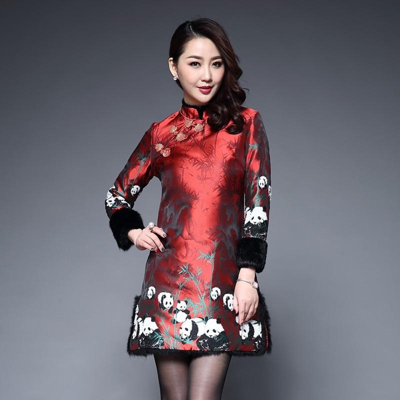 Long Sleeve Winter Qipao Keep Warm Mom Dress Satin Cheongsam Cotton Red Chinese Traditional Women Qi Pao Oriental Style Dresses