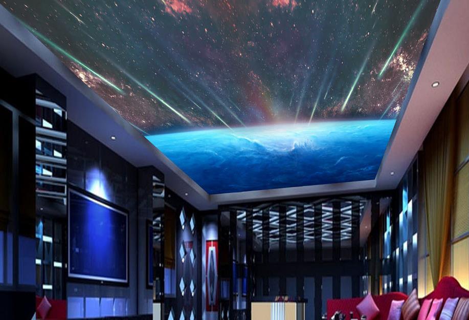Murales de techo modernos 3d personalizados cielo estrellado galaxia papel tapiz 3d para techo papel tapiz para habitación pared grande mura
