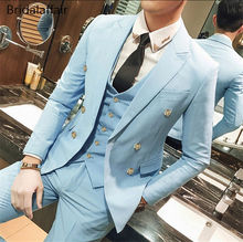 KUSON Latest Coat Pant Designs Sky Blue Men Suit Set Slim Fit 3Pcs Formal Tuxedo Groom Wedding Suits Custom Prom Terno Masculino