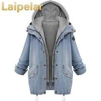 women autumn denim jacket women jackets loose hooded tops cowboy two denim jacket women coat plus size 4xl laipelar outwear