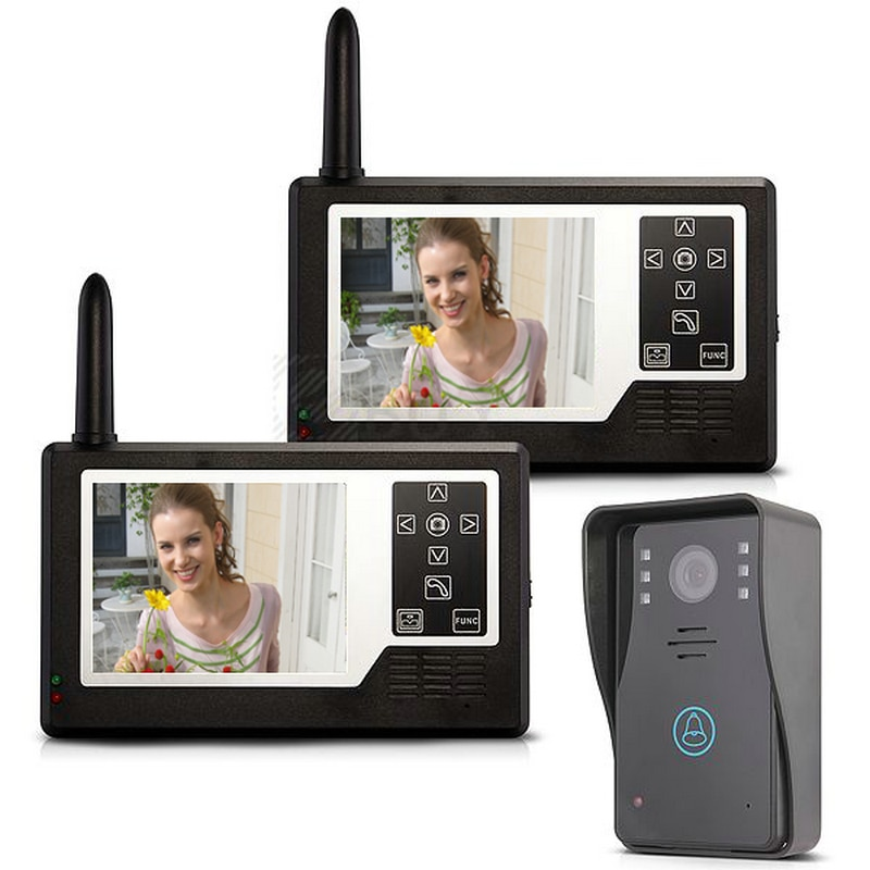 "MOUNTAINONE 3,5 ""TFT Farbe Display 2 Monitor Wireless Video Intercom Türklingel Tür Sprechanlage System"