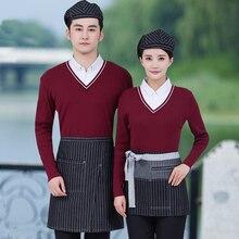 호텔 유니폼 가을과 겨울 여성 패스트 푸드 음료 커피 레스토랑 웨이터 핫 포트 긴 소매 거짓 두 조각 j346