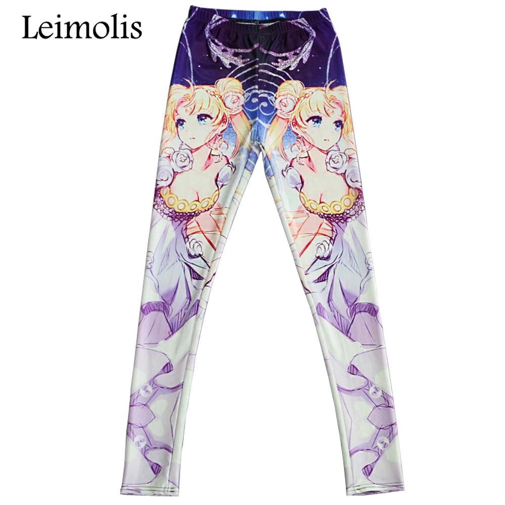 Leimolis, mallas de fitness estampadas en 3D, de entrenamiento con aumento de dibujos animados de Sailor Moon, pantalones de talla grande de cintura alta punk rock para mujer