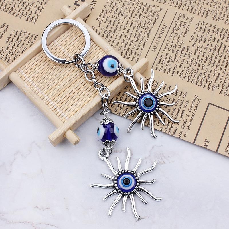 2017 New Fashion Sun Keychain Keyring Evil Eye Bead Lucky Gift Decorative Jewelry Accessories Turkish Keyring