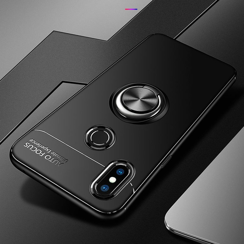 For Xiaomi Mi 8 Case Luxury Soft Silicone With Stand Ring Shockproof Protective Back Cover cases for