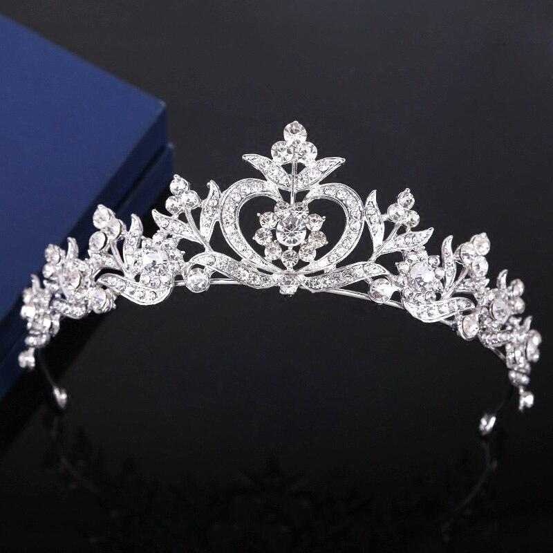 Tiaras de cristal de Plata brillante para boda, diadema de diamantes de imitación, adornos para el cabello, decoraciones para quinceañera, corona, tocado ML676