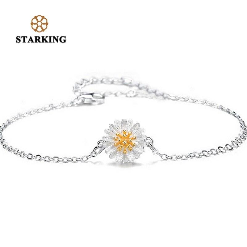 Starking pulseira sliver daisy pulseira para mulher elegante crisântemo gerbera pulseiras & pulseiras jóias esterlinas