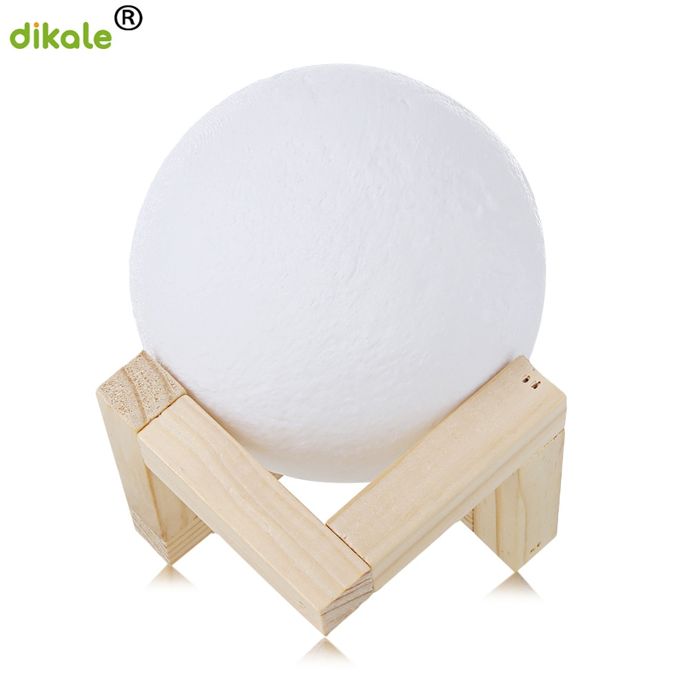 dikale 3D Print Moon Lamp 2 Color Change Touch Switch Bedroom Bookcase Night Light Home Decor Creative Gift 3D Printing Material