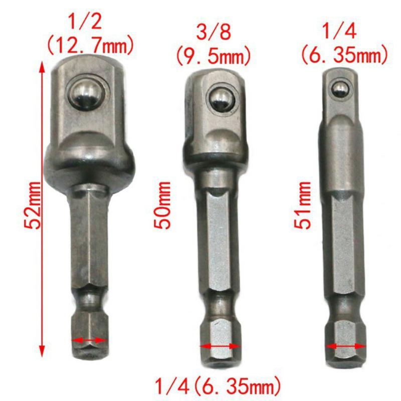 3 шт./компл. хромированная ванадиевая стальная розетка адаптер шестигранный хвостовик 1/4
