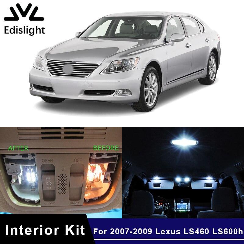 Edislight 15 Uds blanco Canbus LED lámpara bombillas del coche Kit de paquete de interiores para 2007-2009 Lexus LS460 LS600h mapa cúpula maletero luz de placa de