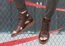 Mannelijke Zomer Mode Persoonlijkheid Echt Leer Lace Up Lederen Sandalen Outdoor Schoenen Voor Mannen Gratis Verzending