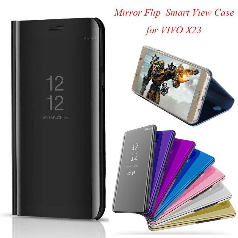 vivox23 Smart Flip Stand Mirror Case For vivo x23 Case Clear View PU Leather Cover For vivo x23 Case Cover for vivo x 23