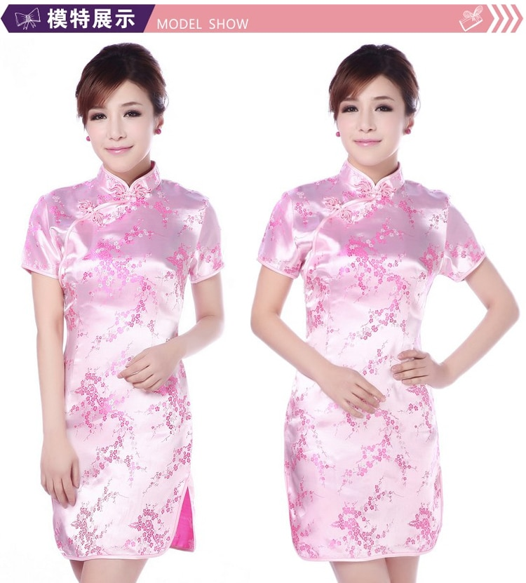 New Arrival Chinese Female Qipao Short Style Cheongsam Women Traditional Silk Satin Dress Dragon&Phenix Size S M L XL XXL enlarge