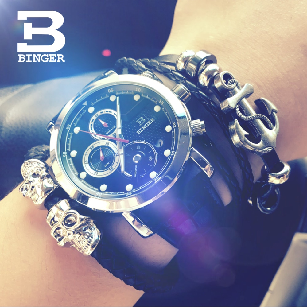BINGER-ساعات رجالية متعددة الوظائف ، فاخرة ، ذات علامة تجارية ، كرونوغراف ، كوارتز ، رياضية ، ذكر