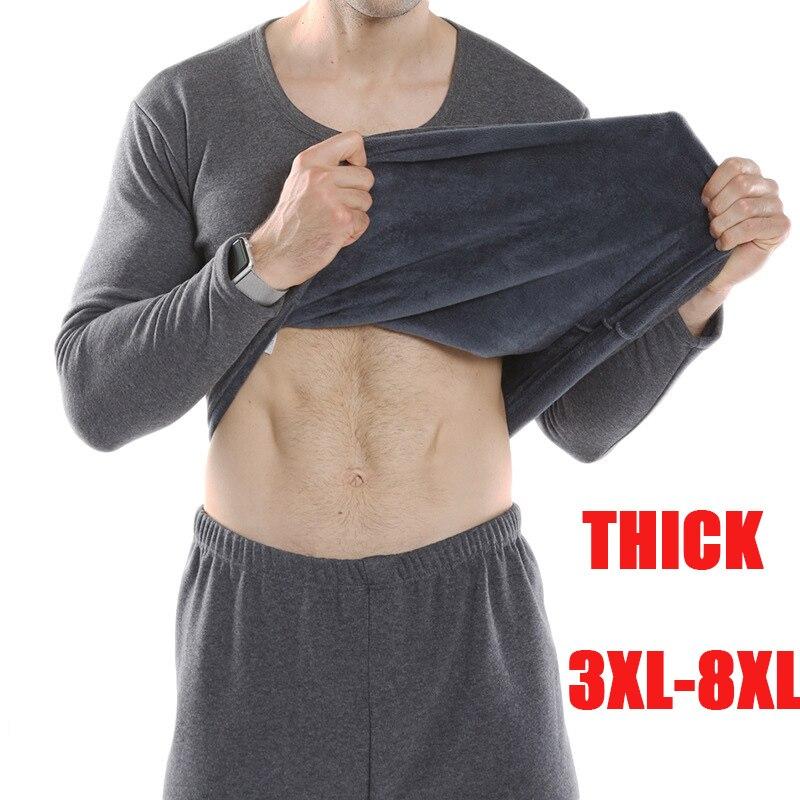 plus size thermal underwear men autumn winter cotton thick super soft thick loose warm long johns shirt+pants underwear set