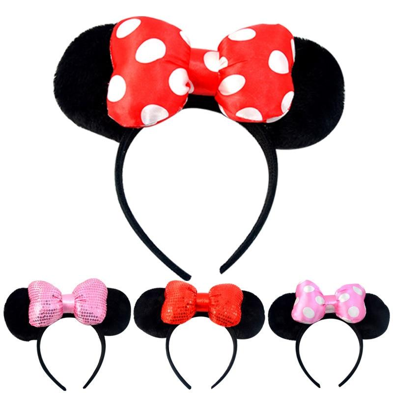 Cute Mickey Mouse Headband Pink Ear Headband Bow Hair Accessories for Birthday Party Celebration Minnie Mouse Hair Accessories