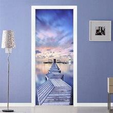 Moderne 3D Blau Himmel Meer Ansicht Holz Brücke Tür Aufkleber Wohnzimmer Schlafzimmer Kreative Foto Wand Mural Wasserdicht Vinyl Tapete 3D