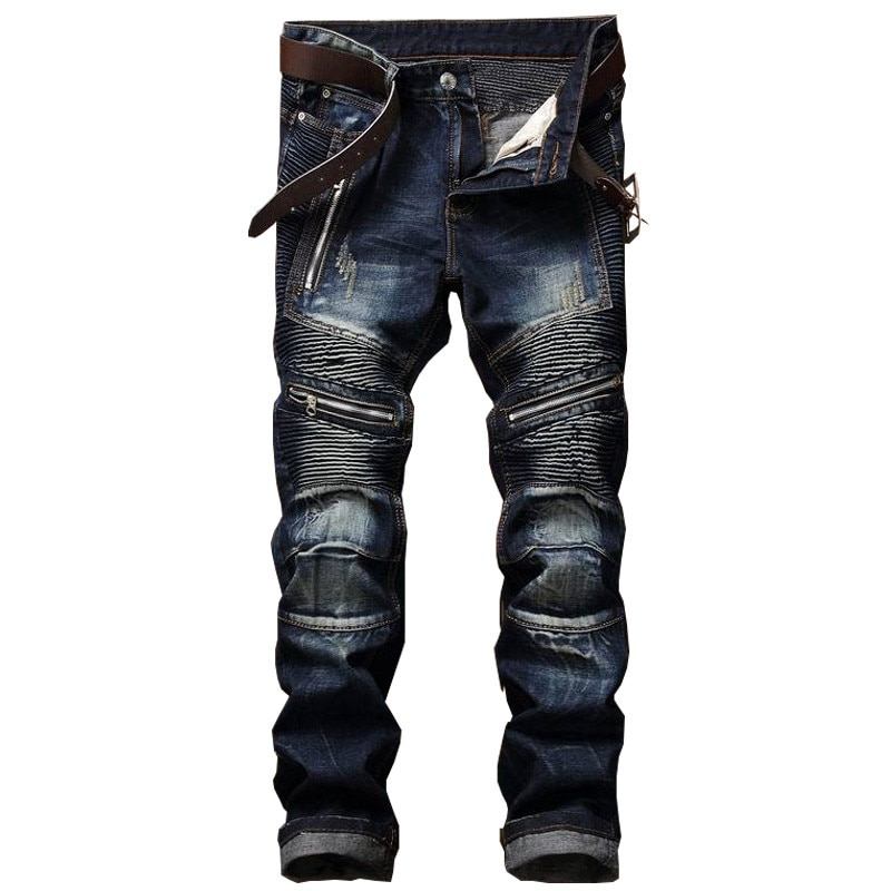 Straight Washed Multi Zipper pants homme Pleated Biker Jeans Pants 2018 Men's Slim Fit Brand Designer Denim Trousers For Male