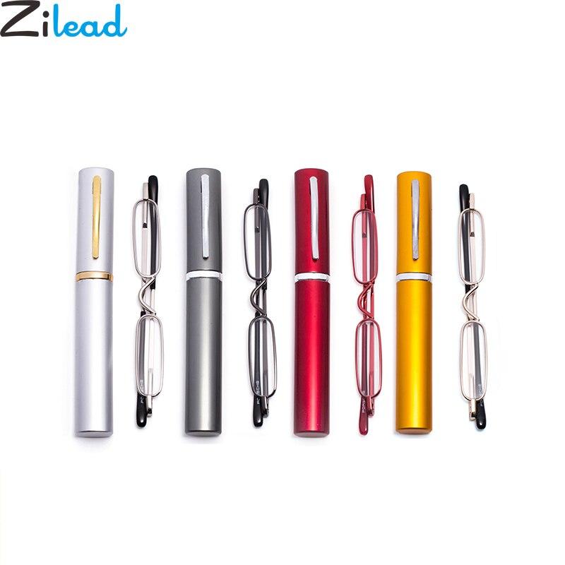 Zilead Mini pluma portátil gafas de lectura Metal mujeres y hombres pierna de primavera presbiopes gafas con pluma carcasa de tubo + 1.0to + 4,0 Unisex