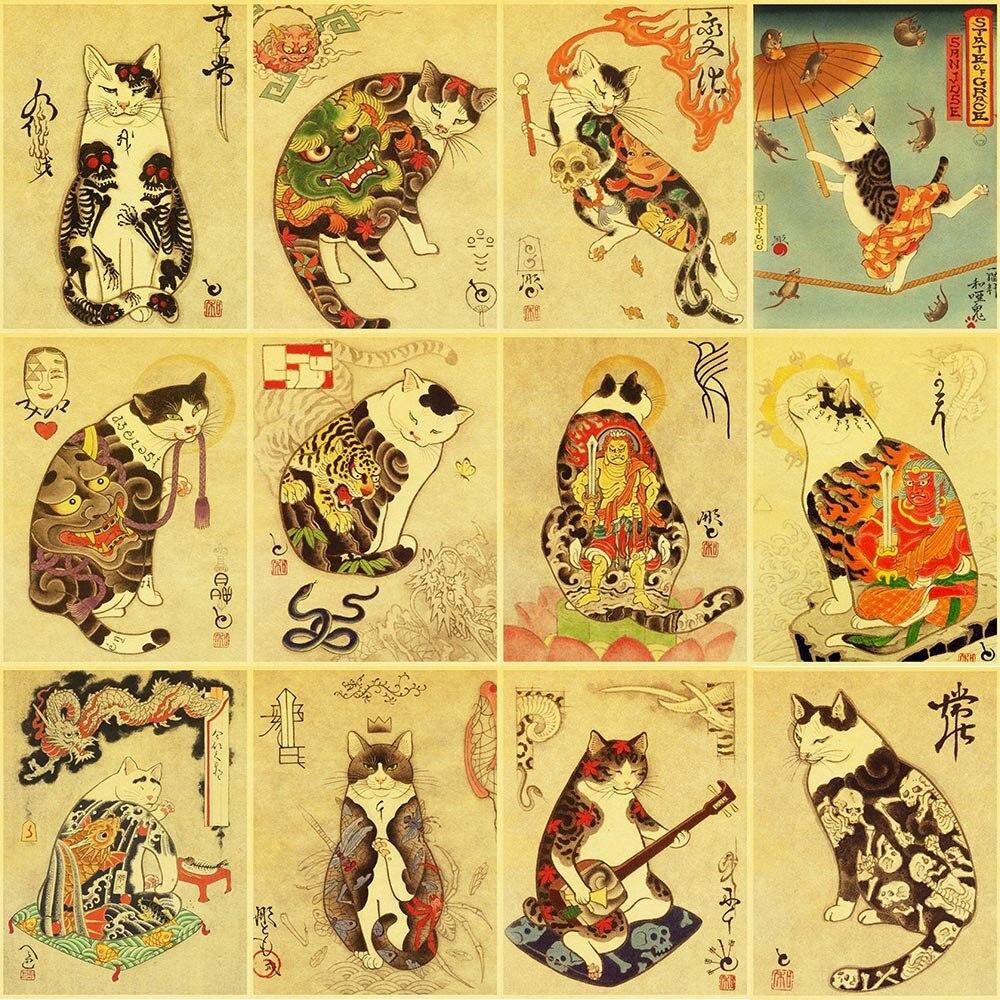 5D DIY Винтаж Японский самурайский Кот алмазная живопись тату Кот Ретро постеры холст мозаика вышивка Настенная живопись для дома