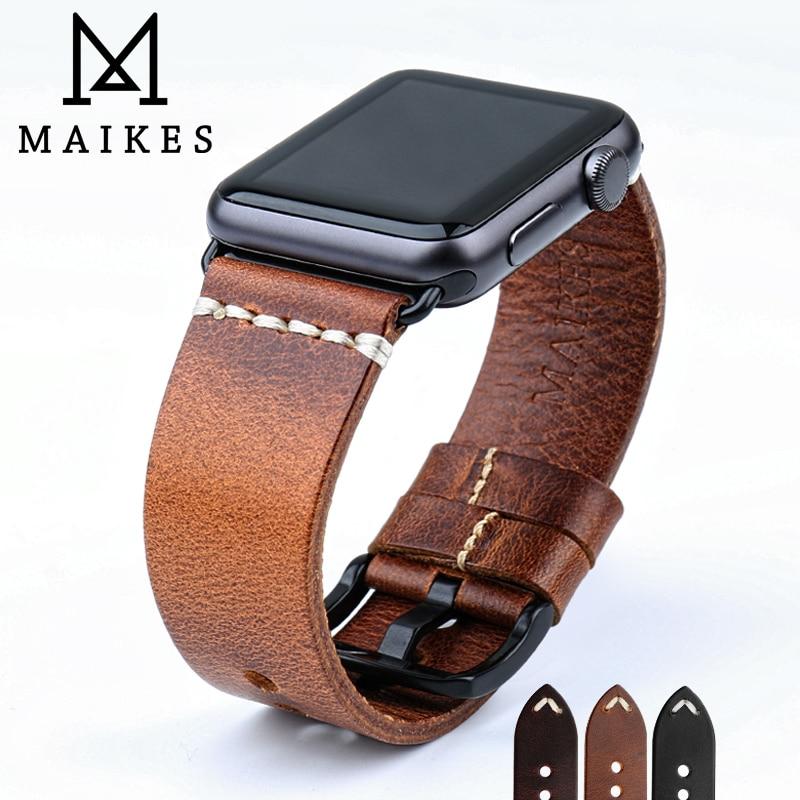 MAIKES-Correa de reloj de cuero y cera de aceite Vintage para Apple...