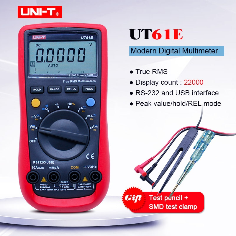 Multímetro Digital Trus RMS UNI-T UT61E; Probador de corriente de voltaje AC DC; Prueba de diodo/Zumbador de continuidad; Conexión de Software PC + regalo