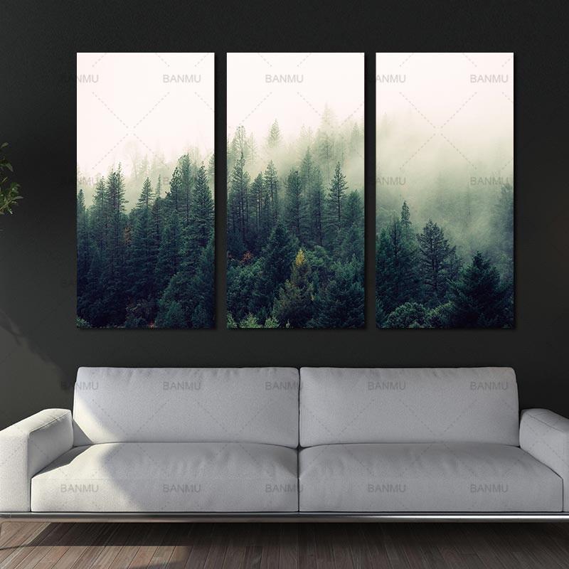 Lienzo pintura arte de pared paisaje el bosque carteles e impresiones decoración del hogar pintura estampado de arte en lienzo sin marco