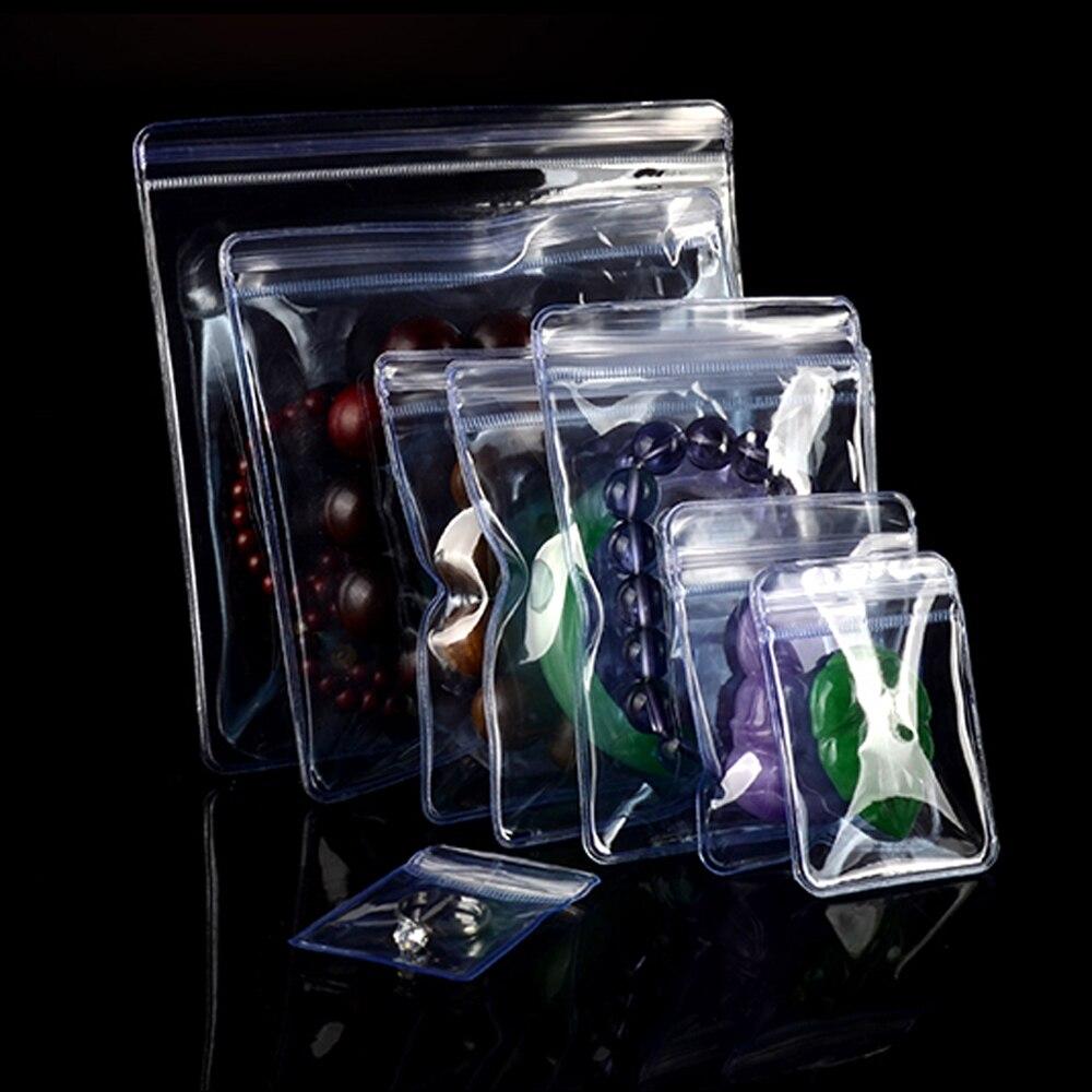 50 Pcs Klar Ziplock Wiederverschließbaren Anti-oxidation Halskette Ringe Schmuck Paket Beutel Selbst Dichtung Zipper Tasche PVC Paket taschen