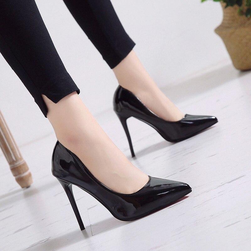 Zapatos de tacón alto para mujer, zapatos de tacón de aguja sexis con punta estrecha de cuero negro, zapatos de boda para mujer, tallas grandes 11 12 13