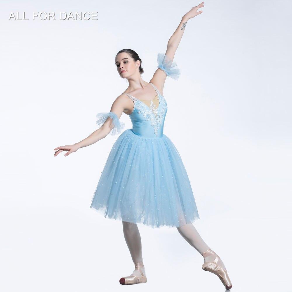 Parte de arriba de color azul pálido corpiño romántico Ballet tutú chica y mujeres puesta en escena bailarina tutú para baile