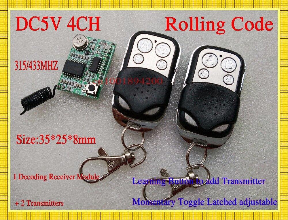 وحدة استقبال التحكم عن بعد 5V 4CH DC ، 2 جهاز إرسال ، وحدة فك ترميز لاسلكية RF ، التعلم 315/433 TTL