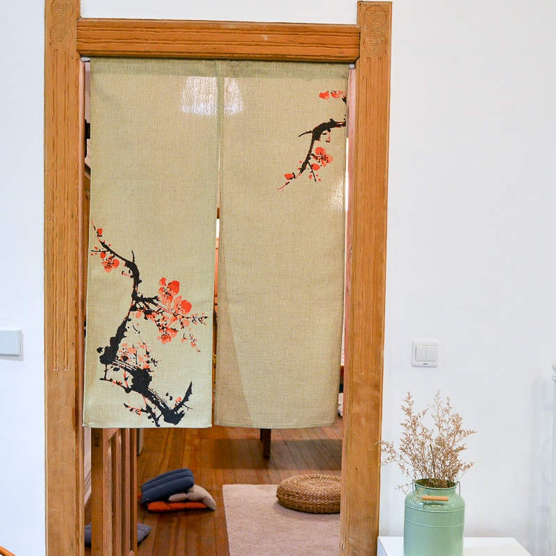 Pintura de tinta ciruela Puerta de flores cortina Rural de algodón flores de agua chino partición cortina para puerta de dormitorio