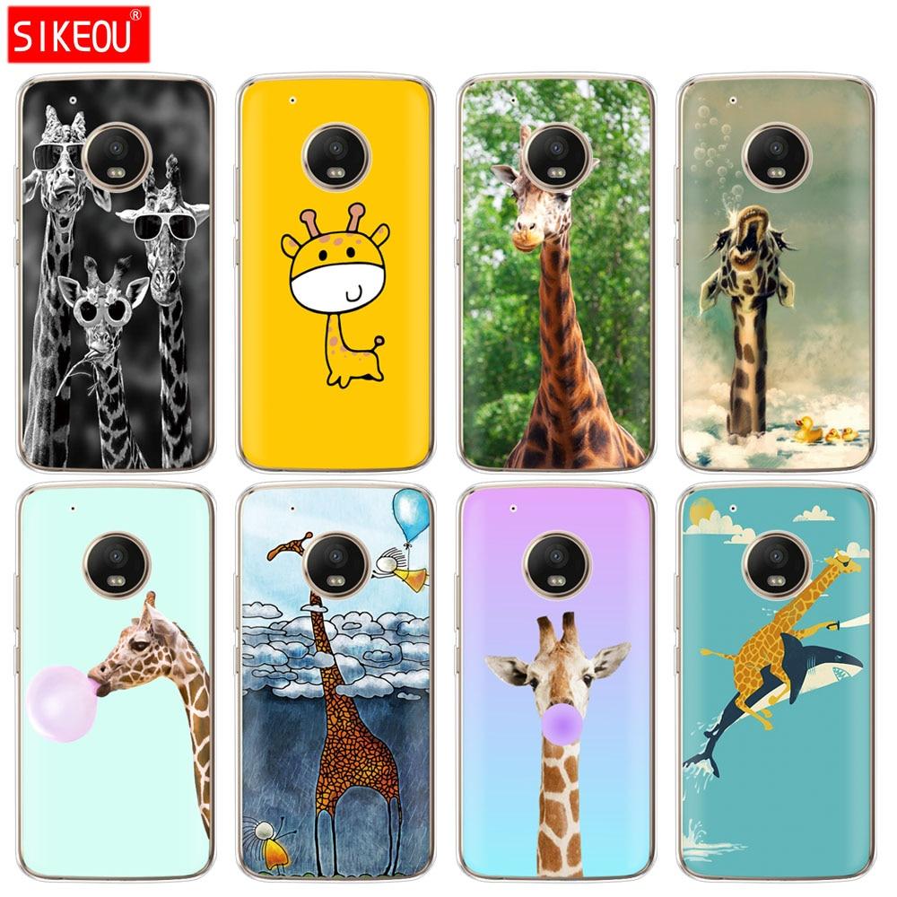 Silicone case capa do telefone Para Motorola Moto G6 G5 G5 Z2 Z3 JOGAR MAIS X4 E4 E5 C girafas bonitos animais